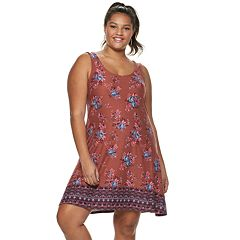 Juniors' Plus Size Mudd® Cross Back Sueded Jersey Dress