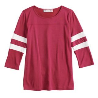 Girls' 7-16 & Plus Size Pink Republic Striped-Sleeve Varsity Tee