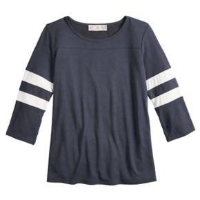 Girls' 7-16 & Plus Size Pink Republic Striped-Sleeve Varsity Tee