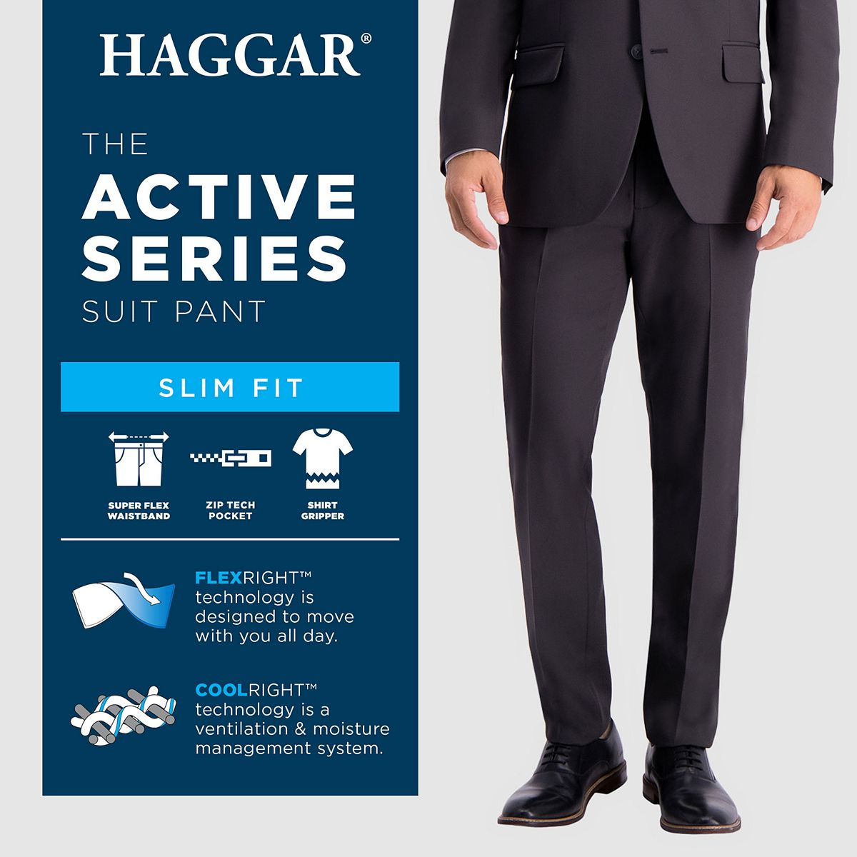 Men's Haggar® Active Series Heathered Slim-Fit Suit Pants Heather Gray Aa0hx