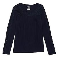 Girls 7-16 & Plus Size French Toast Lace Yoke Henley Tee