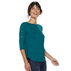 Women's Apt. 9® Faux-Button Boatneck Tee