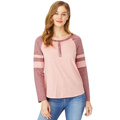 Juniors' Wallflower Varsity Striped Raglan Henley Top