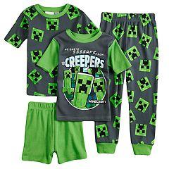 Boys 6-12 Minecraft Creeper 4-Piece Pajama Set