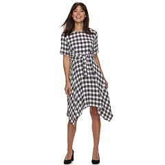 Women's ELLE™ Plaid Handkerchief Hem Dress