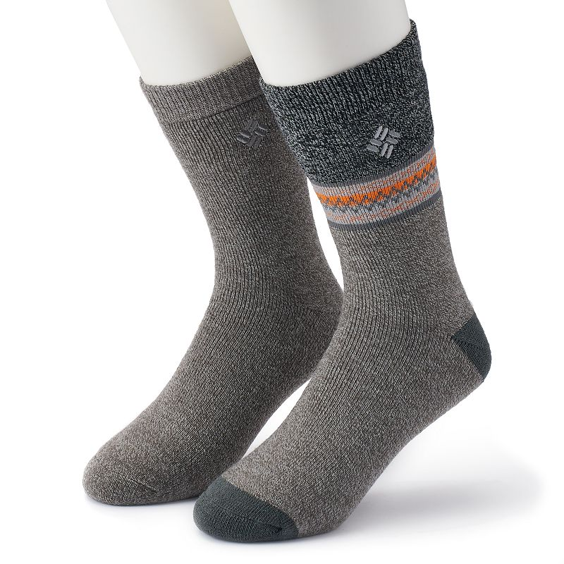 Men's Columbia 2-pack Patterned Thermal Crew Socks, Size: 10-13, Grey Put your best foot forward in these men's thermal socks by Columbia. 2-pack Crew length cut hits mid calf Thermal construction Brushed fleece interior for maximum warmth FIT & Sizing Sock sizes: 10-13 Fabric & Care Acrylic, polyester, spandex, other Machine wash Imported Color: Grey. Gender: Male. Age Group: Adult. Material: Acrylic Blend.