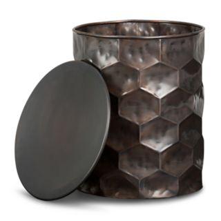 Simpli Home Whitney Metal Storage End Table