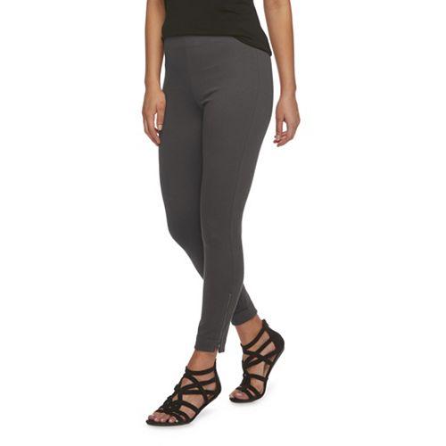 Women's Utopia by HUE Zipped High-Waisted Twill Leggings