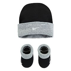 Baby Nike Black Beanie Hat & Booties Set