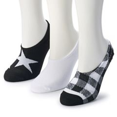 Women's Converse Made for Chucks 3-Pack Star & Buffalo Checked No-Show Socks