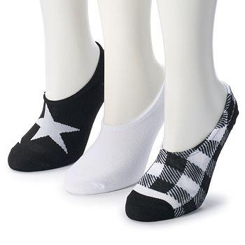 c71c676d5f0 Women s Converse Made for Chucks 3-Pack Star   Buffalo Checked No-Show Socks