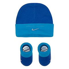 Baby Boy Nike Blue Beanie Hat & Booties Set