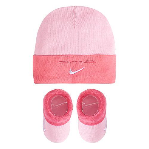 Baby Girl Nike Pink Beanie Hat & Booties Set