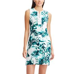 Women's Chaps Tropical Leaf Lace-Up A-Line Dress