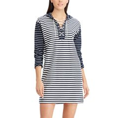 Women's Chaps Striped Lace-Up Shift Dress