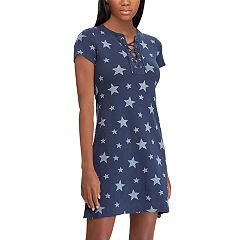 Women's Chaps Striped Lace Up A-Line Dress