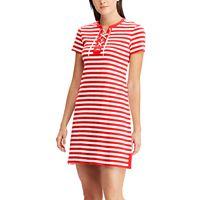 Women's Chaps Striped Lace Up A-Line Dress