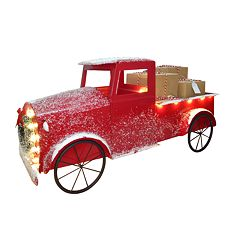 st nicholas square light up red truck christmas table decor