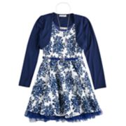 Girls 7-16 Knitworks Belted Skater Dress & Shrug