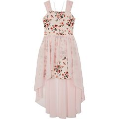Girls 7-16 IZ Amy Byer Floral High-Low Dress with Necklace