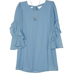 Girls 7-16 IZ Amy Byer Ruffled Bell Sleeve A-Line Dress with Necklace