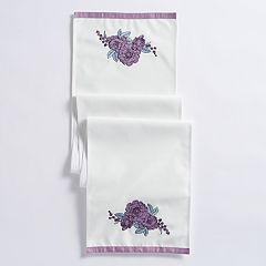 Mainstreet Gray Flower Table Runner - 72'