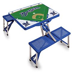 Picnic Time Milwaukee Brewers  Portable Picnic Table with Field Design