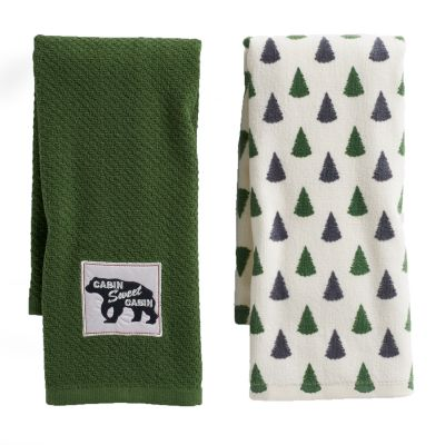 Mainstreet Cabin Green Kitchen Towel 2-pack