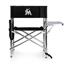 Picnic Time Miami Marlins Sports Side Table Chair
