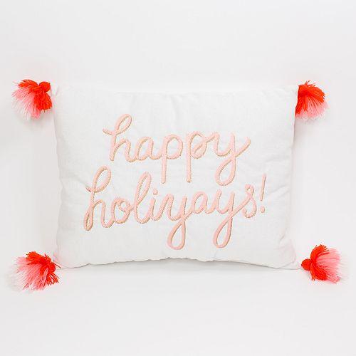 "LC Lauren Conrad ""Happy Holiyays"" Pom-Pom Christmas Throw Pillow"