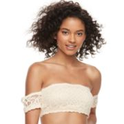 Juniors' It's Just A Kiss Lace Off-The-Shoulder Bandeau BR-31554