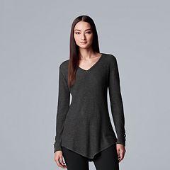 Women's Simply Vera Vera Wang Lace-Up Asymmetrical V-Neck Sweater