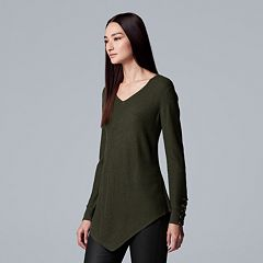 Women's Simply Vera Vera Wang Lace-Up Asymmetrical V-Neck Sweater