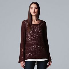 Women's Simply Vera Vera Wang Pointelle Mock-Layer Top
