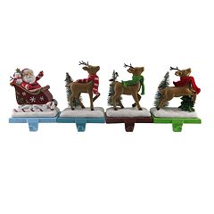 St. Nicholas Square® Santa & Reindeer Christmas Stocking Holder 4-piece Set