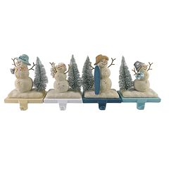St. Nicholas Square® Coastal Snowman Christmas Stocking Holder 4-piece Set