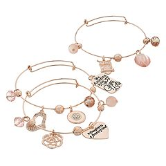'A Daughter is a Forever Friend' Charm Bangle Bracelet Set