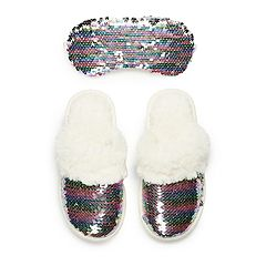 Girls 4-16 Elli by Capelli Flippable Sequin Slipper & Eye Mask Set