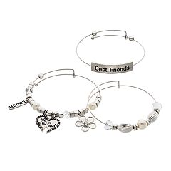 Silver Tone 'Best Friends' Bangle Bracelet Set