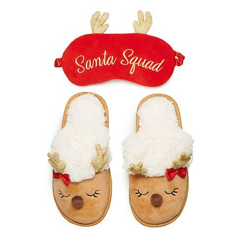 "Girls 4-16 Elli by Capelli ""Santa Squad"" Reindeer Christmas Slipper & Eye Mask Set"