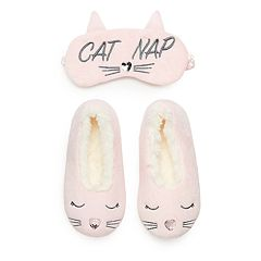 Girls 4-16 Elli by Capelli Kitty Cat Slipper & Eye Mask Set