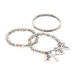 'Faith Hope Love' Stretch Bracelet Set