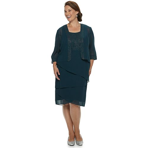 Plus Size LeBos Lurex Tiered Dress & Jacket Set