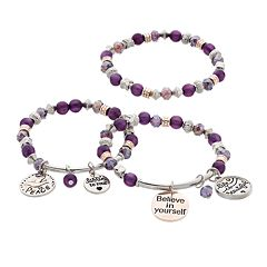 'Life Is Beautiful' Stretch Bracelet Set