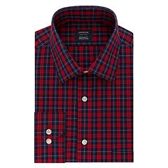 Men's Arrow Regular-Fit Plaid Stretch Spread-Collar Dress Shirt