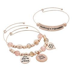 'Nothing is Impossible' Charm Bangle Bracelet Set