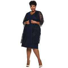 Plus Size Maya Brooke Beaded Lace Duster Jacket Dress