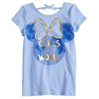 """Disney's Minnie Mouse Girls 4-10 Tie Back """"Girls Run The World"""" Graphic Tee by Disney/Jumping Beans®"""