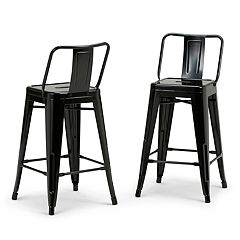 Simpli Home Rayne Metal Counter Stool 2-piece Set