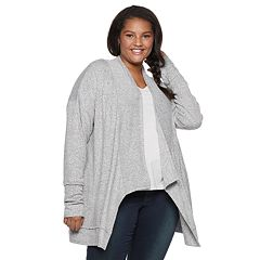 Juniors' Plus Size SO® Waterfall Hacci Cardigan